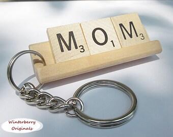MOM Scrabble Tile Keychain - Keyring, Gift for Mom, Keys, Mother's Day gift, key chain