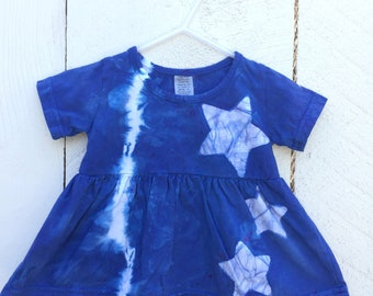 Blue Baby Dress, First Birthday Dress, Blue Star Dress, Star Baby Dress, Tie Dye Baby Dress, First Birthday Gift, Baby Girl Gift (12 months)
