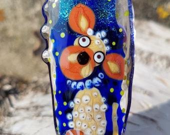 Lampwork Dog bead, artisan glass Dog focal bead, lampwork glass pendant for necklace handmade beading supply