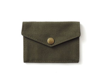 Recycled Military Canvas Snap Wallet Slim Minimalist Wallet Green