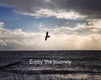 Enjoy the Journey, Photo Greeting Card, 4x5 inspirational cards, blank inside, travel inspiration ocean bird landscape, move life event baby