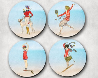 Coasters, Sports Coaster, Vintage Coaster, Ladies, Women, Drink Coasters, Sports, Dog Show, Tennis, Diving, Sand Surfing (0012)