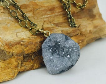Grey druzy quartz pendant, fashion accessory, crystal pendant, boho fashion, grey jewelry, bohemian jewelry, body novelties