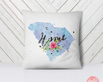 US State South Carolina Map Outline Floral Design - Throw Pillow Case, Pillow Cover, Home Decor - TPC1159