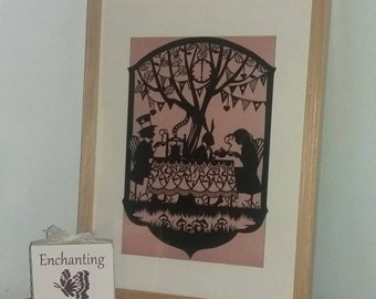 Mad Hatter's Tea Party Papercut Framed, alice, fairytale, mad hatter, art, handcut, gift, present,