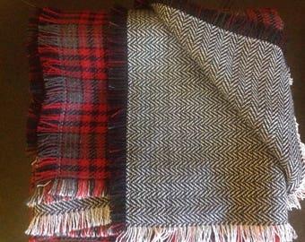 Blanket scarf red plaid double sided black herringbone