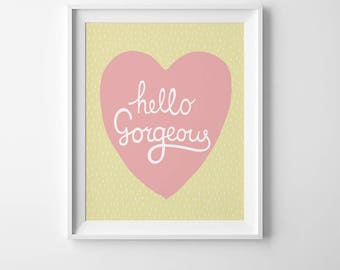 Baby girl nursery wall art coral, girl room decor, baby shower gift, digital print pastel pink yellow print art for baby girl hello gorgeous