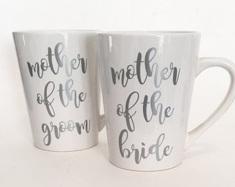 Set of 2 - Mother of the Bride, Mother of the Groom Ceramic Coffee Mug Silver in Script Font / Bridal Gift