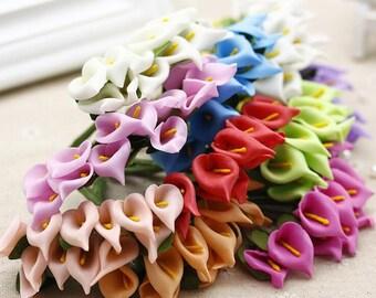 12 Pcs Mini Calla Lily Artificial Flowers, Bouquet Artificial Flowers