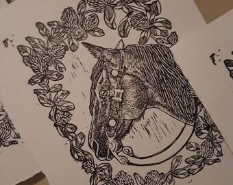 Dusty linocut print