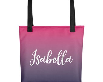 Ombre Bag, Personalized Tote Bag, Personalized Bag, Ombre Tote Bag, Pink Tote Bag, Printed Tote Bag, Blue Tote Bag, Custom Name Tote Bag,
