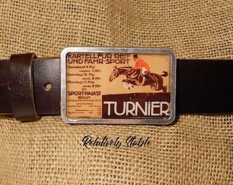 equestrian belt buckle, hunter jumper belt, buckle for snap belts