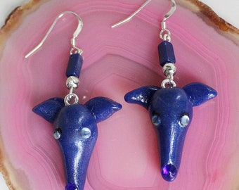 Greyhound Whippet Dark Blue Clay Sterling Silver Wire Earrings