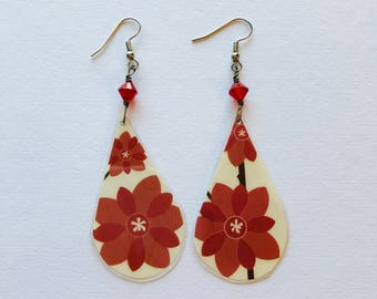 Recycled Magazine Floral Earrings