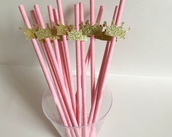 12 Paper Straws with Tiara | Crown | Glitter