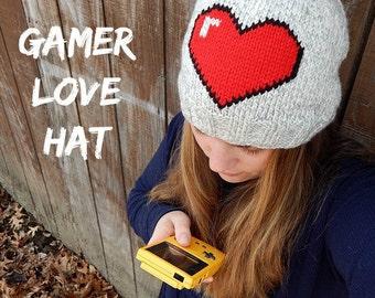 Gamer Love Hat  : Toddler Hat, Child Hat, Adult Hat, Gamer Gear, 8-bit Heart