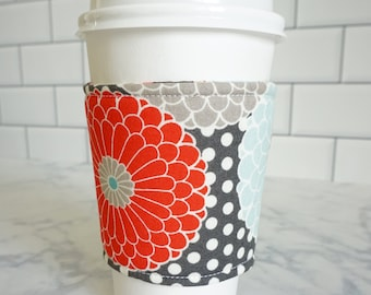 Reusable Coffee Sleeve-Grey Floral Print