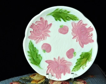 Pretty Antique Majolica Plate, Vintage majolica, majolica pottery pink flowers, Bread and Butter, Single Cake Plate,great price, #1534