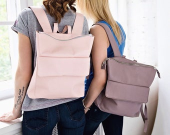 Leather Backpack Freedom/Women's urban backpack grainy texture