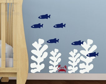 Kids Beach Bedroom Wall Decals, Seaweed stickers, Fish wall decal, Crab sticker set, Nautical bathroom wall decor, Beach decor wall decals