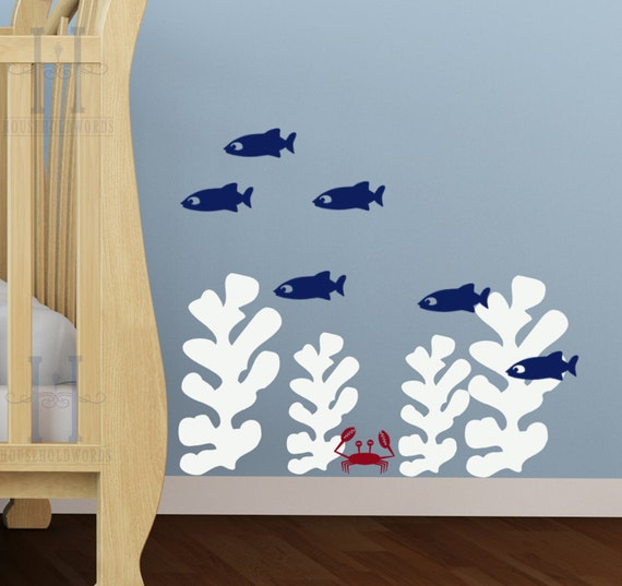 Perfect Kids Beach Bedroom Wall Decals Seaweed Stickers Fish Wall