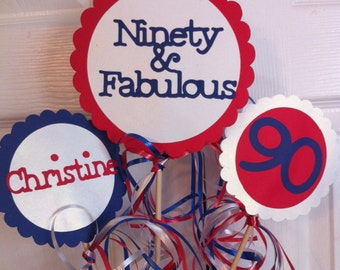 90th Birthday Decorations Centerpiece Sign Set with  Personalized Text