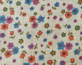 Vintage flowered canvas yardage