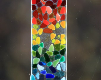 Rainbow fused glass suncatcher / sun catcher