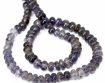 Natural Water Sapphire Iolite Smooth Rondelle Gemstone Loose Beads 16 Inches 8mm 9mm - Jewelry Supplies