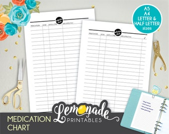 Medication planner insert Printable medicine chart A5 Insert Medicine dose tracker prescription insert A5 filofax large kikki A5 color crush