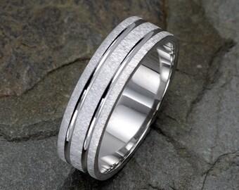 White Gold Mens Wedding Ring, Brushed Mens Wedding Band, Grooved Mens Band, 6mm Wedding Band, Solid Gold Mens & Women's Wedding Rings