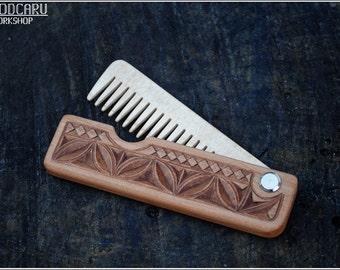 Pliage cadeau de peigne peigne à barbe en bois pour lui peigne à barbe personnalisé peigne homme cadeau cheveux peigne poche peigne mari barbe toilettage