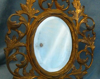 Nouveau Gold Iron Mirror Easel Stand Beveled Glass Oval Antique