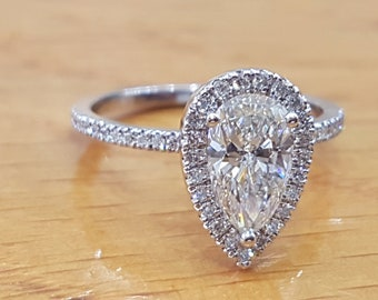 1 Carat Pear Shaped Engagement Ring,Halo Pear Cut Diamond Ring, 14K White Gold Ring, Vintage Pear Halo Engagement Ring, Pear Shaped Ring