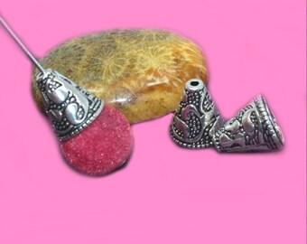 10 bead caps cones silver antique 13x12mm