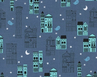 Cotton + Steel Eclipse - Haunted City in Gray - Unbleached Quilting Cotton - Fabric by the Yard - Ghost Town Fabric - Halloween Fabric