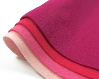 4 Pink Felt Sheets - 1 of each color in stock - Baby Candy Shocking and Fuchsia Pink - Eco Fi Craft Felt Sheets - Supplies