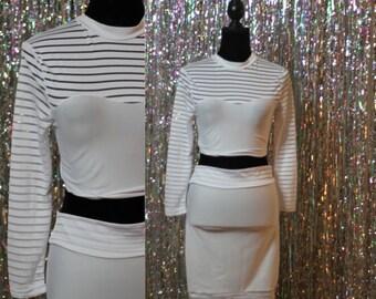 90s' Winter White 2 Piece Pencil Skirt Set w/ Crop Top (S-M) *Excellent Conditon