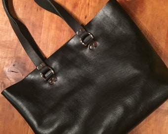 Regular Tote, Black Leather Tote, Unlined Leather, Raw Edge Leather, Leather Purse