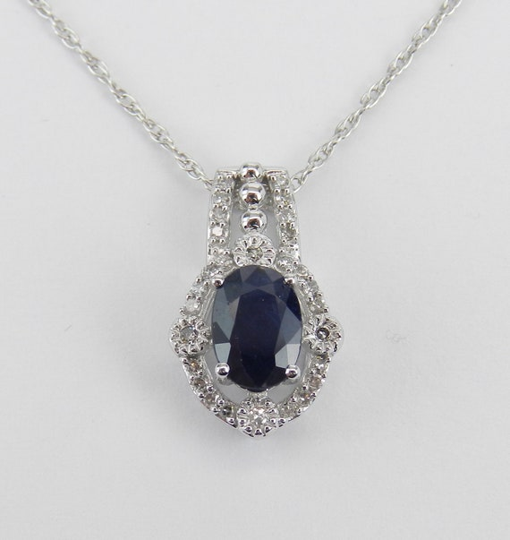 """Diamond and Sapphire Drop Pendant Necklace 14K White Gold 18"""" Chain Wedding Gift September Birthstone"""