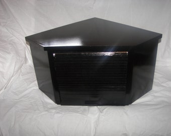 Black Lacquer Corner Breadbox with Roll Up Door.