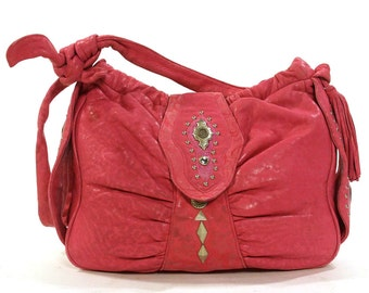 80s Shoulder Bag in Butter Soft Hot Pink Leather with Studs & Rhinestones Large Slouchy Statement Purse with Tie Shoulder Strap