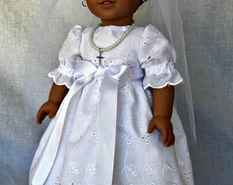 First communion dress for 18 inch doll. Fits the American Girl and similar 18 inch dolls.