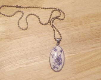 Antique inspired blue and white broach pendant necklace