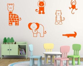 Giraffe, Elephant, Tiger, Lion, Monkey and Crocodile Jungle Wall Stickers, Animal Wall Decals, Jungle Wall Art Transfers - MP019