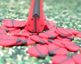Polymer clay cane ladybug uncut 1pc for miniature kawaii decoden and nail art supplies