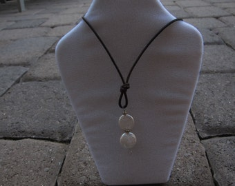 White Coin Pearl and Leather Necklace