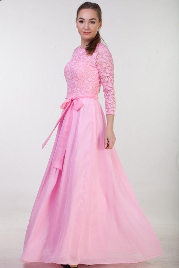 langen rosa spitze kleid rosa brautjungfer kleid lange. Black Bedroom Furniture Sets. Home Design Ideas