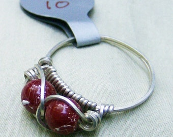 Cranberry Red Ring - Stunning Vintage Glass Bench Beads, .925 Sterling Silver Wire Wrapped Ring , Size 10 by JewelryArtistry - R308