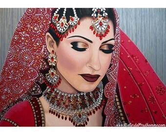 Preeti Ruby Indian Bride - ART PRINT - 8 x 10 - By Toronto Portrait Artist Malinda Prudhomme
